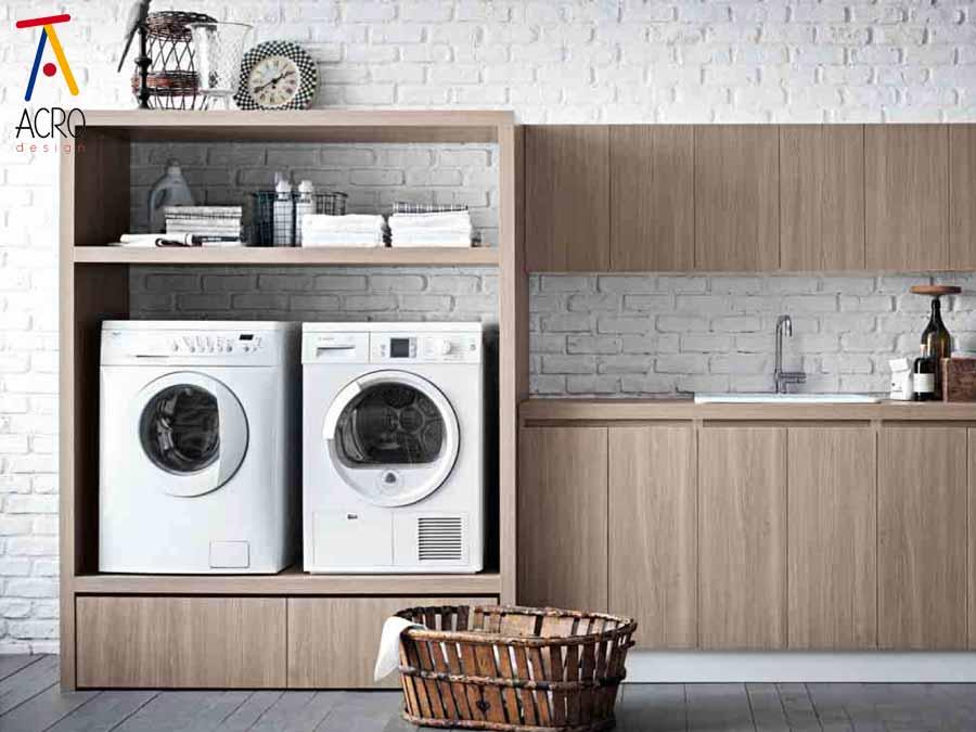 Mobili porta lavatrice asciugatrice arredo lavanderia for Coprilavatrice in legno
