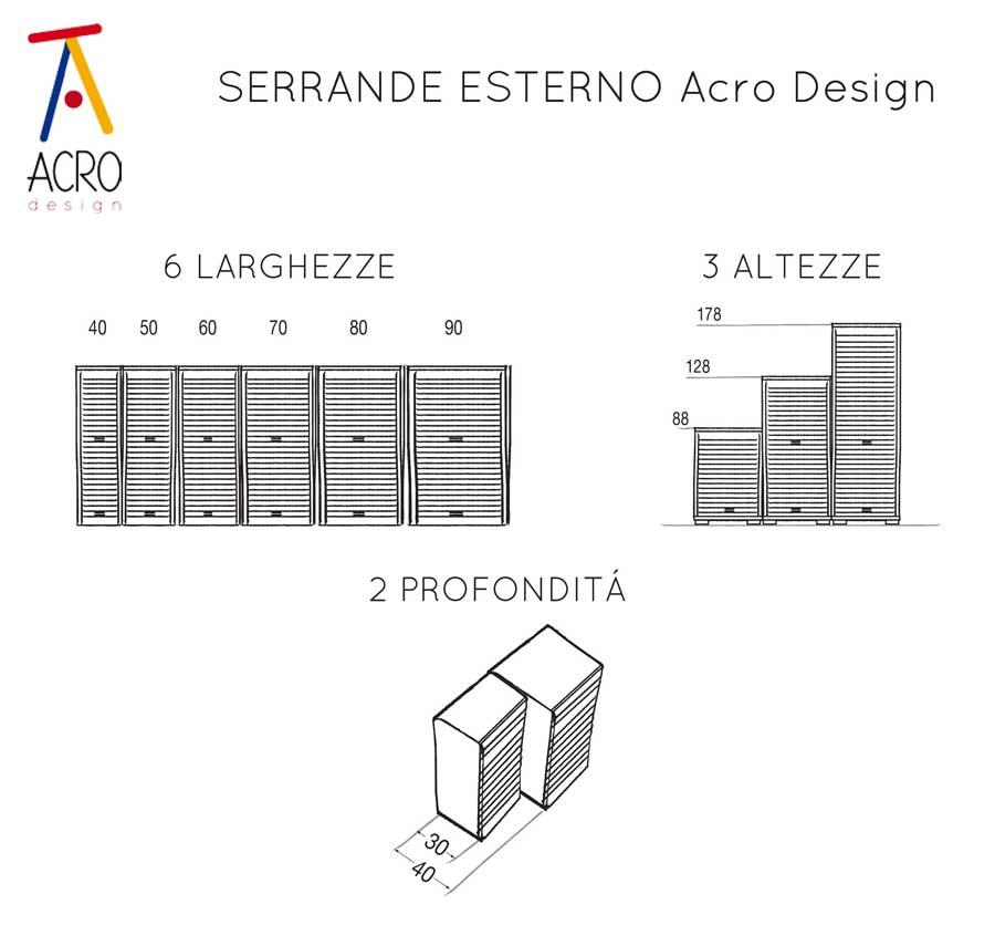 SERIE COBALTO - serranda esterno schema misure- LAMIERA 00